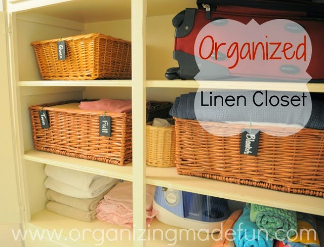 Use baskets for organizing in the linen closet :: OrganizingMadeFun.com