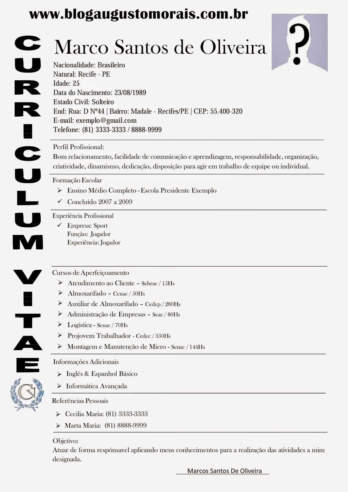 Modelos de Currículo Profissional Grátis | Blog Augusto Morais ...