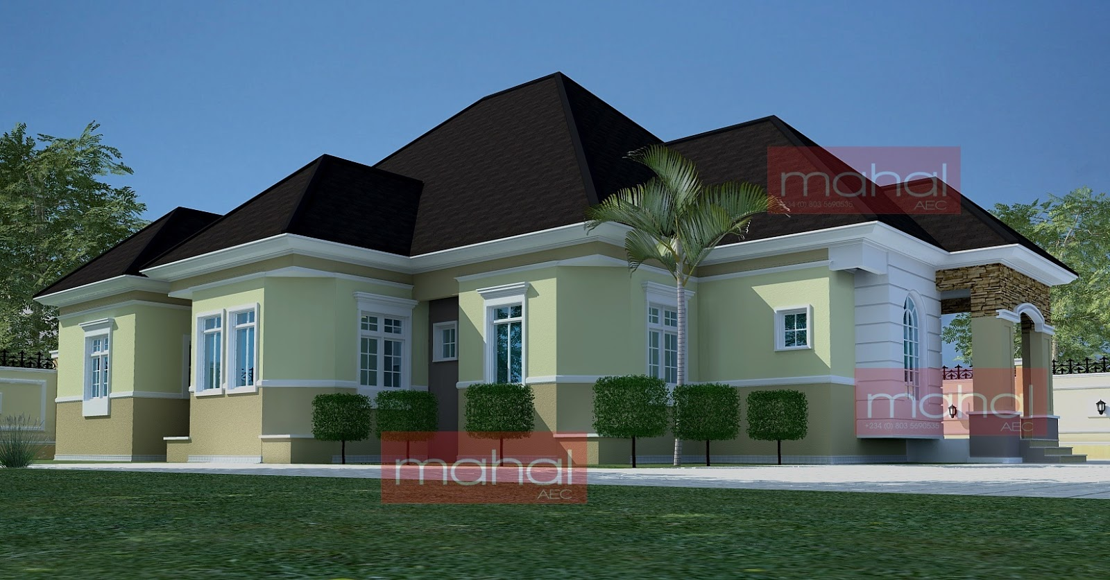 Contemporary nigerian residential architecture festus for 5 bedroom modern farmhouse plans
