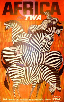 African travel poster with zebras 1967 by David Klein