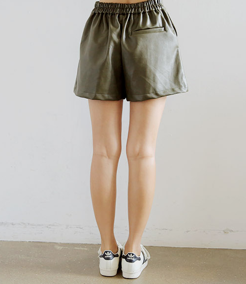 Faux Leather Pull-On Shorts