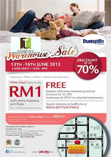 Dunlopillo Warehouse Sale 2013