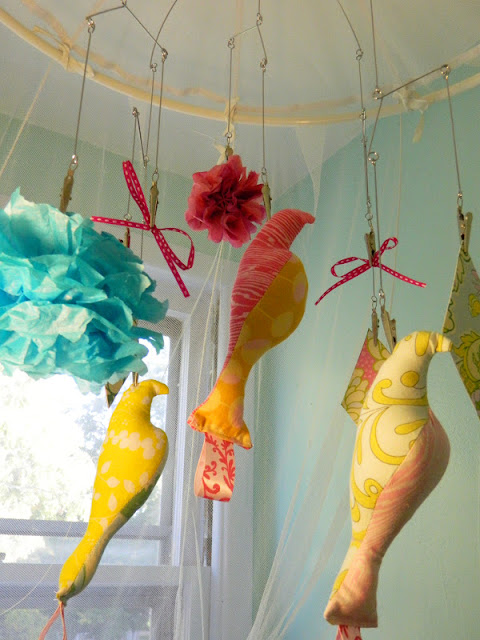 hand sewn fabric bird mobile clouds kites Just Peachy, Darling