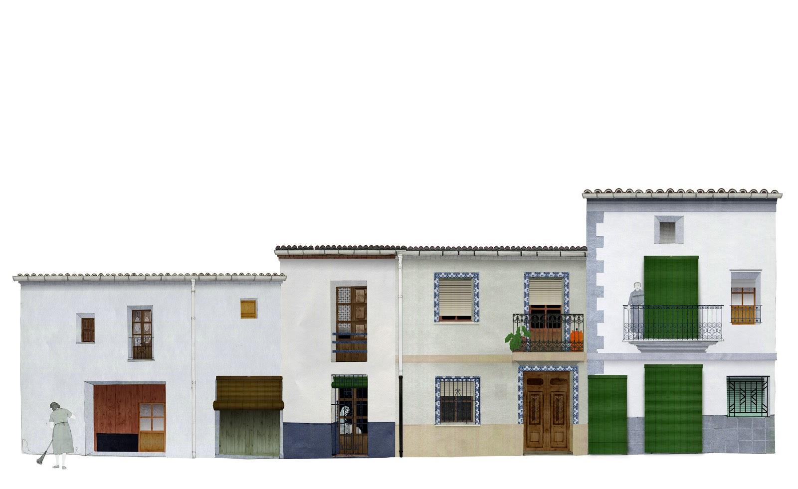 arquitectura rural, calle , casas , vividas, dibujo