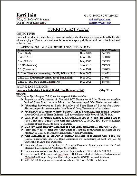 specimen of resume for articleship ca professional resume format