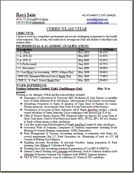 ca professional resume format free download