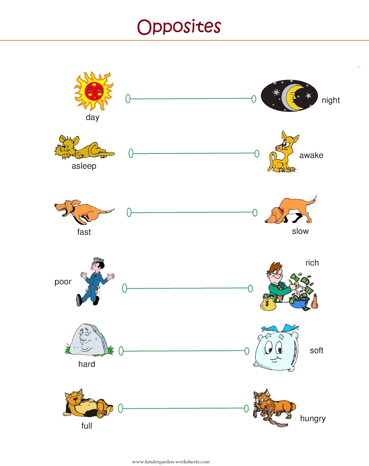 Opposites - FREE Printable Preschool and Kindergarten Worksheets ...