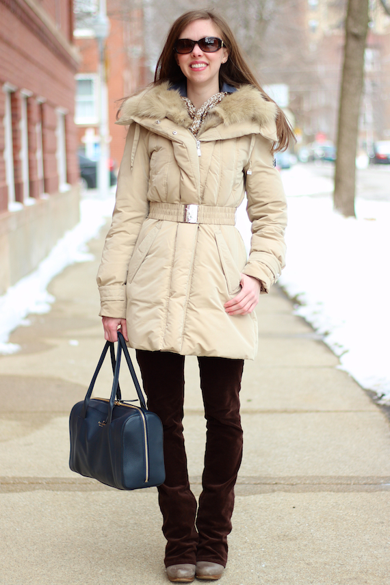 Tan Down & Fur Coat, Brown Corduroy   StyleSidebar