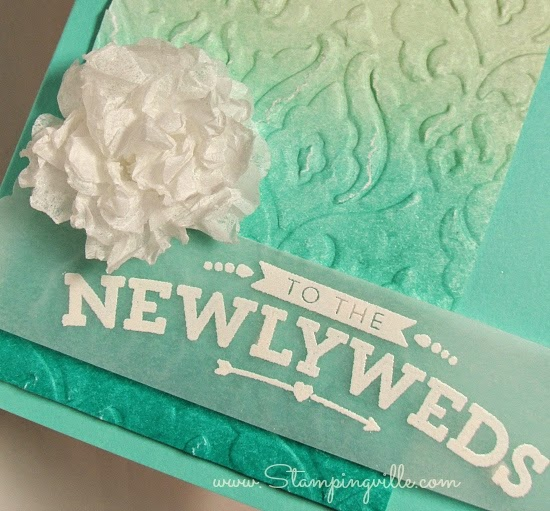 Wedding card greeting embossed on vellum | Stampingville #cardmaking #papercrafts #StampinUp