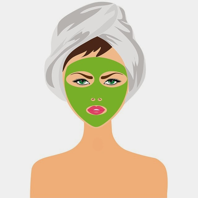 Girl with beauty mask,  face treatment
