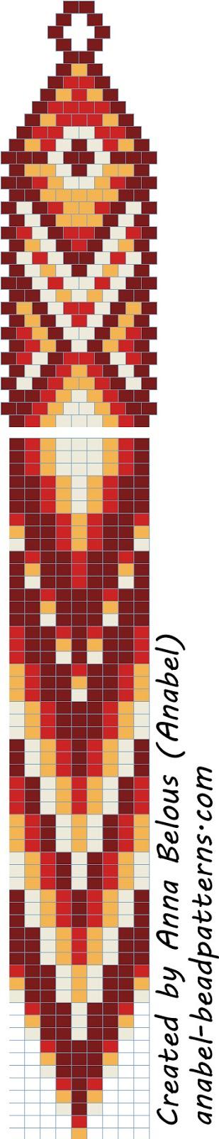 Схема длинных серег с бахромой
