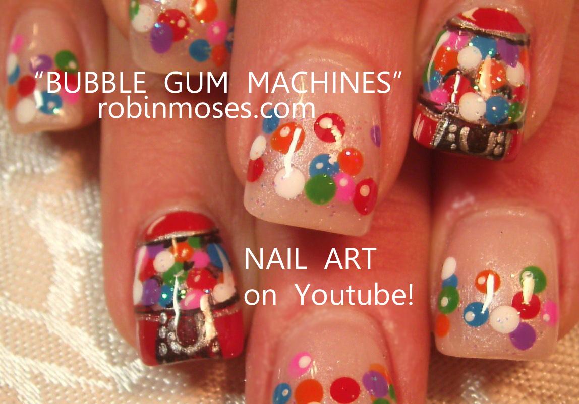 gum machine nail, bubble gum nail, gumball machine nail, gum ball ...