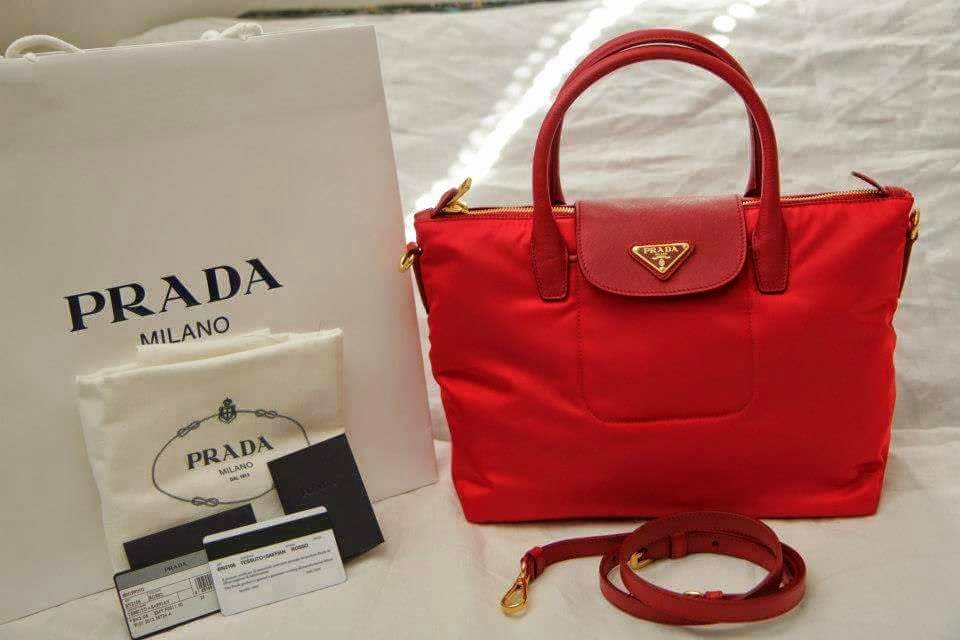 prada cost - Prada Tessuto Nylon Top Handle 2 Way Tote BN2106 - Red *SALE*