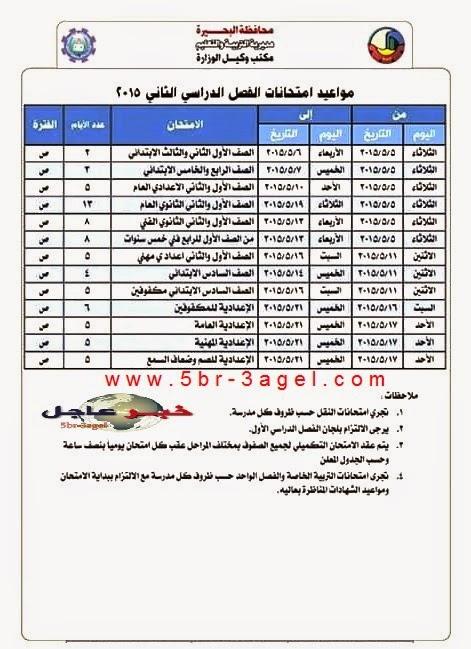 جدول مواعيد وامتحانات اخر العام الدراسى 2015 للنقل والشهادات بمحافظة البحيــرة