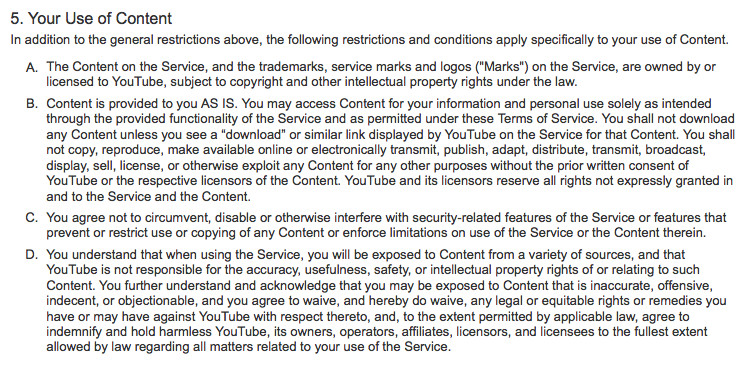 From Youtube Terms of Service