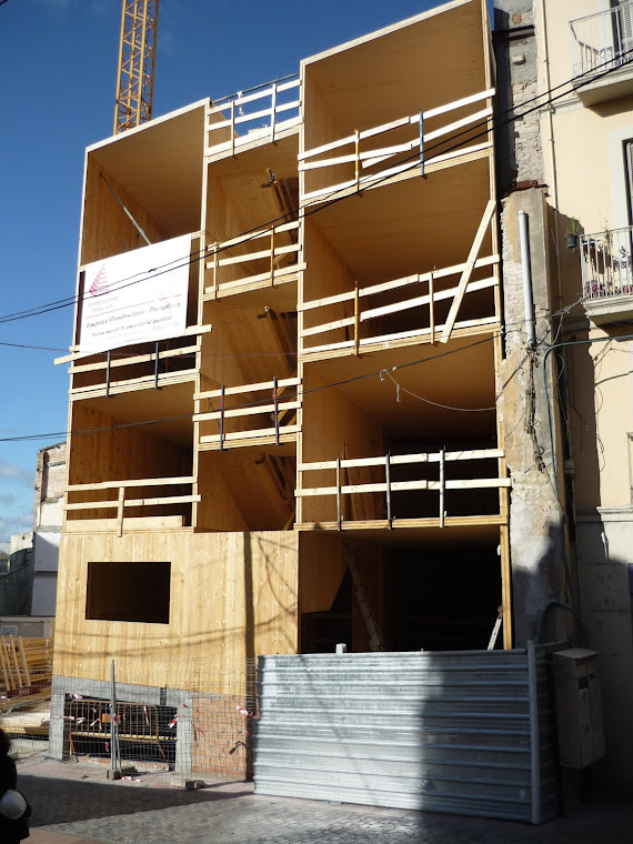 Façana de l'edifici de fusta. Fachada del edificio de madera