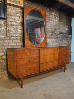 Mid Century Chicago Dixie Lowboy Dresser W Mirror