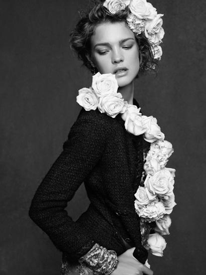 Pequeno casaco Chanel Natalia Vodianova