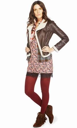 Riachuelo coleção inverno look vestido floral camisa xadrez jaqueta de couro