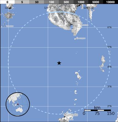 Epicentro sismo 6,0 grados islas Célebes de Indonesia, 17 de Octubre 2012