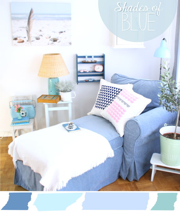 Die neue Wohnzimmer-Wohlfühlecke in Blautönen