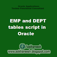 EMP and DEPT tables script in Oracle, askhareesh blog for Oracle Apps