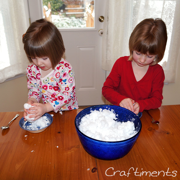 Making snowballs.