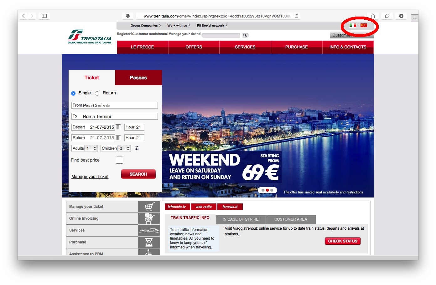 Tampilan web Trenitalia