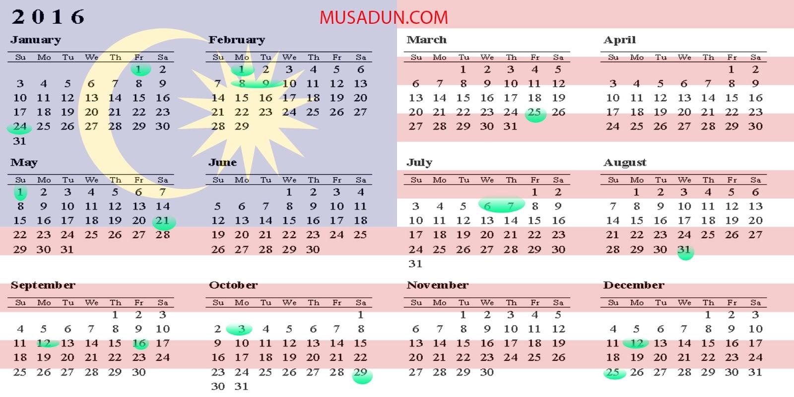 Kalendar Cuti 2016 Related Keywords & Suggestions - Kalendar Cuti 2016 ...