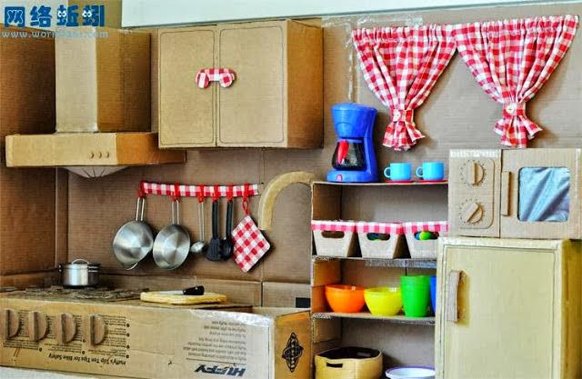 Как сделать для куклы кухню из картона 931
