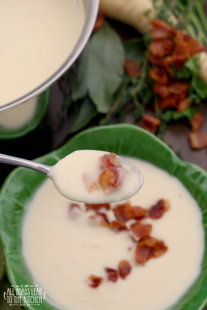 Silky Parsnip Potato Soup With Bacon All Roads Lead To