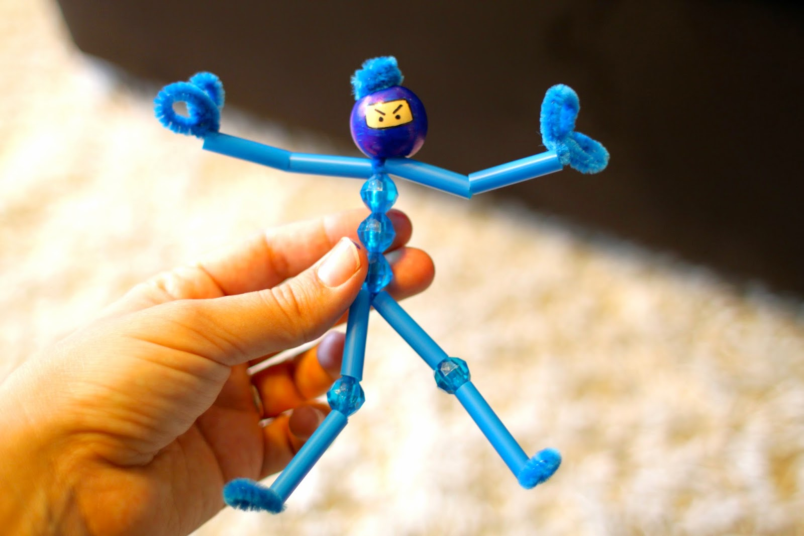 My emiline living kids crafts pipe cleaner ninjas for Pipe craft