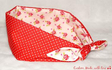 red polka dot and roses reversible bandana