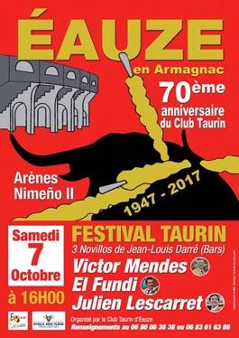 ÉAUZE (FRANCIA) 07 OCTOBRE 2017. FESTIVAL TAURINO ACTUA VICTOR MENDES.