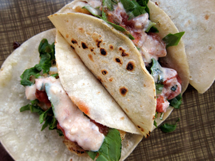 Best of food easy fish tacos w yogurt crema poppytalk for Greek yogurt fish taco sauce