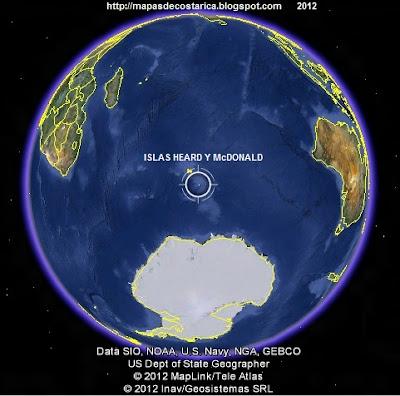 Ubicación de ISLAS HEARD Y McDONALD (Australia) en El Mundo. , Google Earth