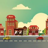 Vector set of a small business buildings
