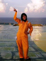 Enjoying offshore, on platform's helideck