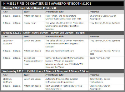 Detailed schedule of Awarepoint Fireside Chat Series during HiMSS11