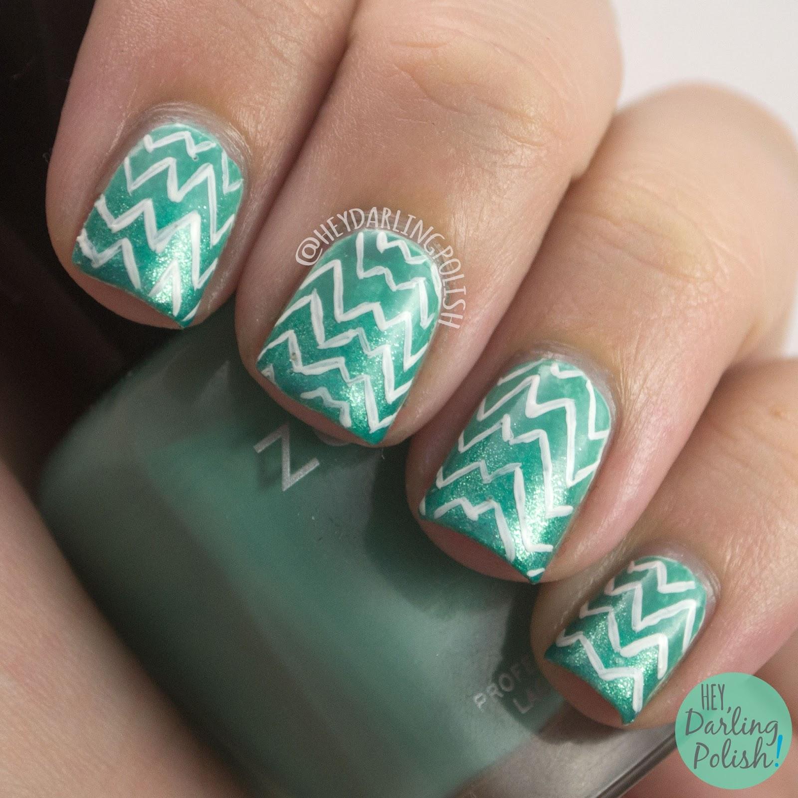 nails, nail art, nail polish, teal, zig zags, 52 Week Challenge, hey darling polish