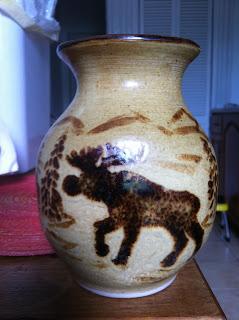 moose vase, linda doyon, moose, vase, pottery, cape breton,