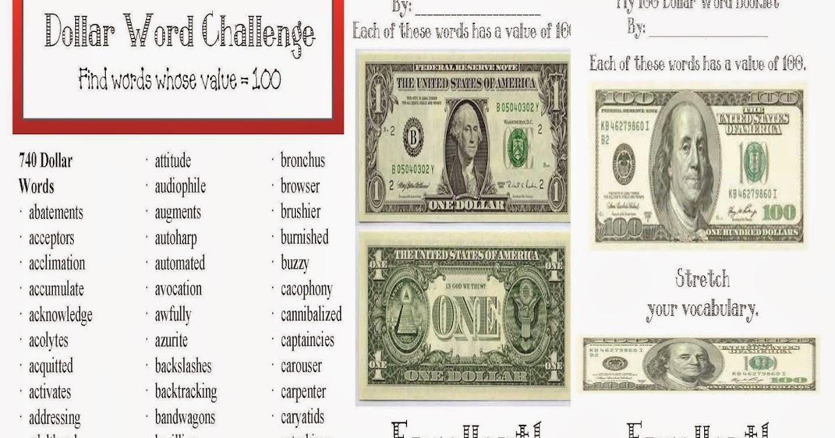 Classroom Freebies: Dollar Words Packet