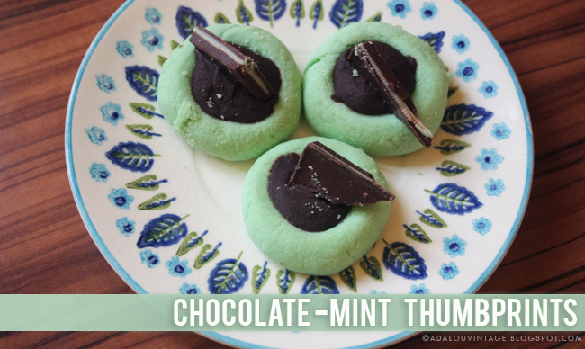 AdaLou {the Blog}: FOOD : CHOCOLATE-MINT THUMBPRINTS