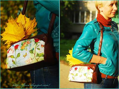 сумка декупаж, декупаж, декупаж необычное приминение, декупаж осень