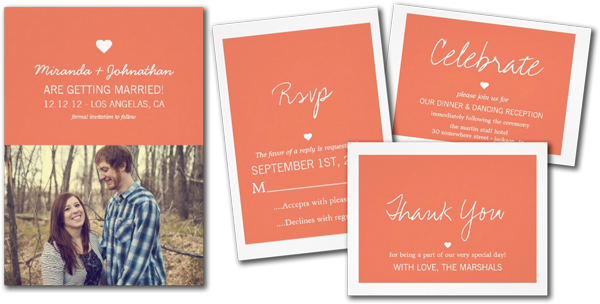 Coral Love Design Wedding Invitation Cards