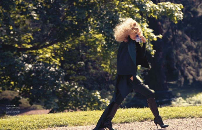 Photo shoot by Camilla Akrans for Vogue Japan starring Edita Valkeviciute named Remembered by Eros. Styling Sissy Vian