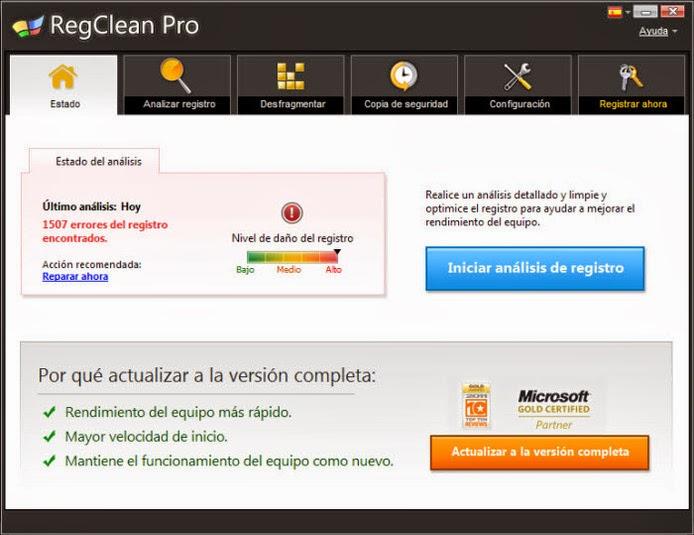 RegClean Pro pantalla 1