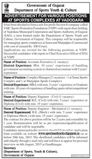 VMC Sports Promotion Foundation (VSPF) Recruitments : Sports Authority of Gujarat (SAG) Recruitments