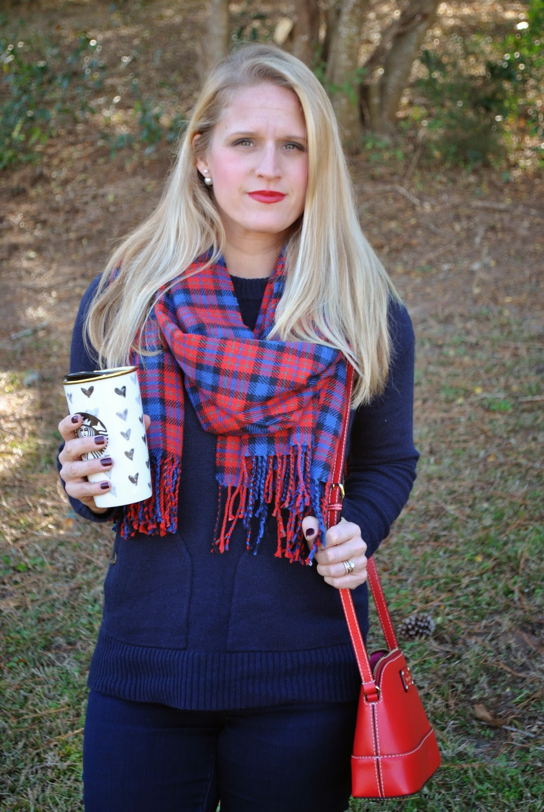J Crew Factory Patch pocket Sweater Kate Spade Red Crossbody Plaid J Crew Scarf Holiday Outfit