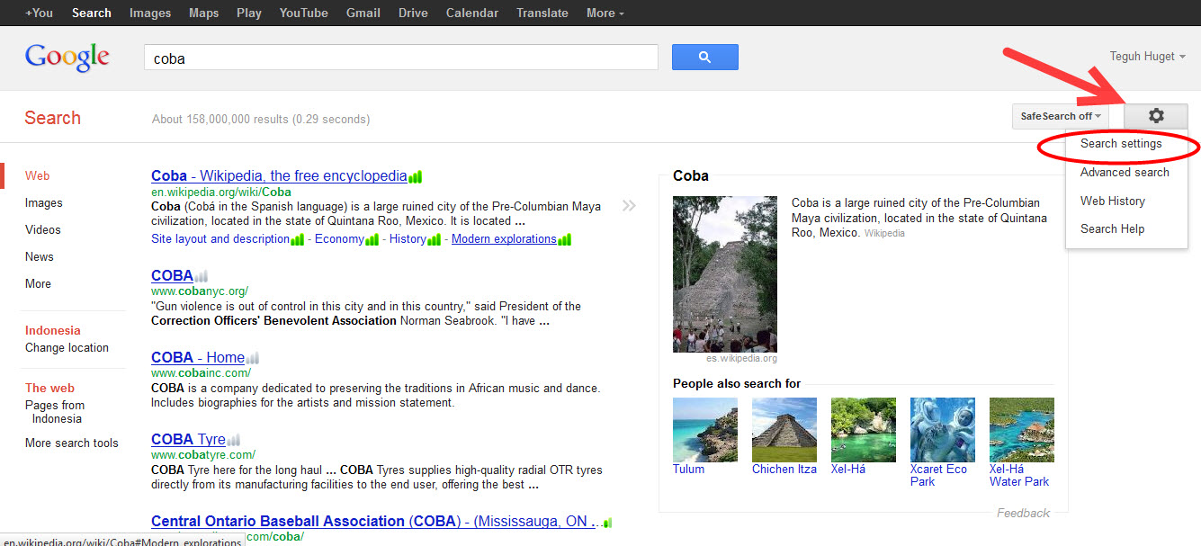 indoensia how to search someone in google